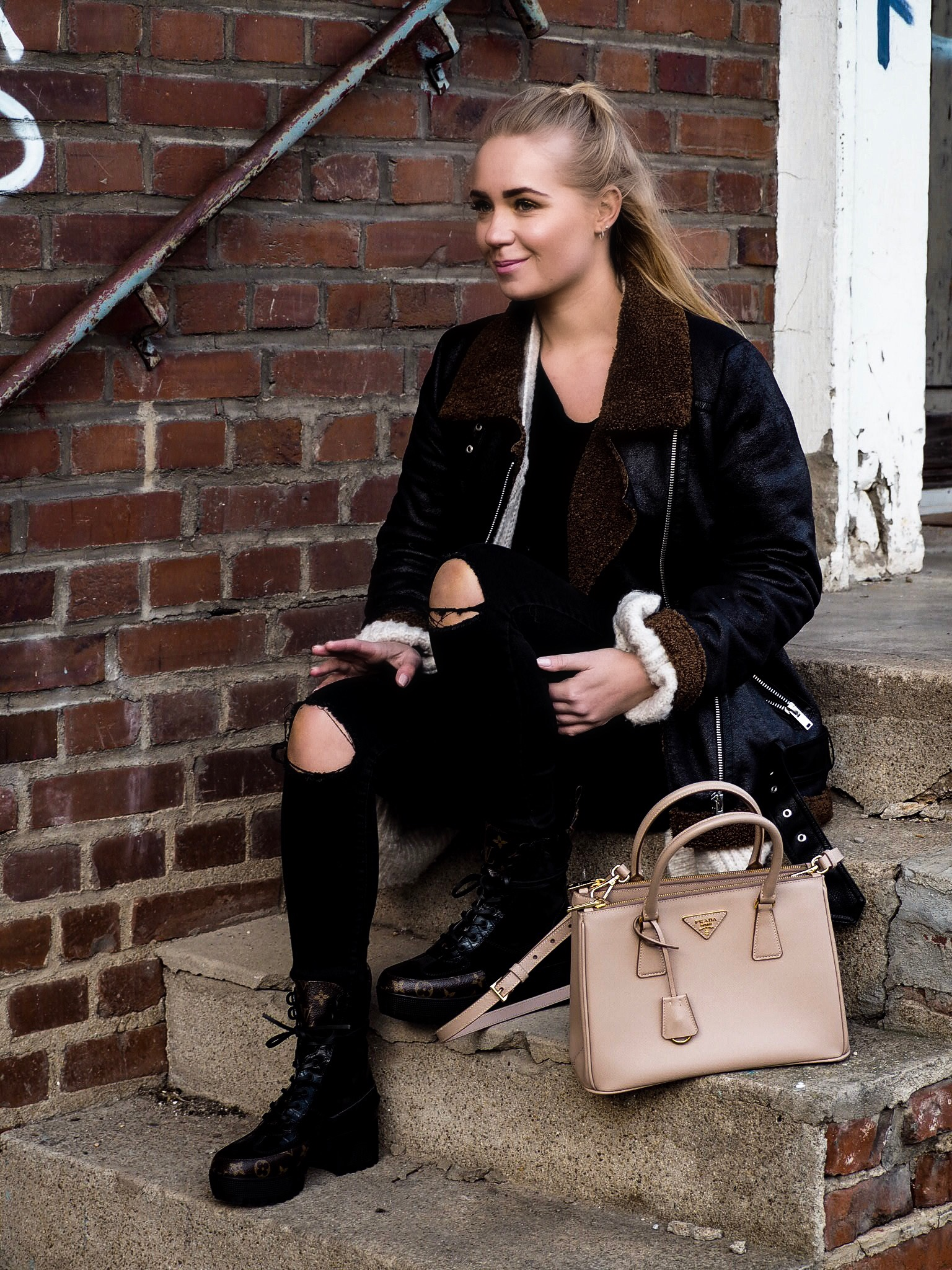 Outfit: leather jacket & LV boots
